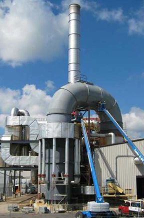 Stack off of ductwork and RTO regenerative thermal oxidizer